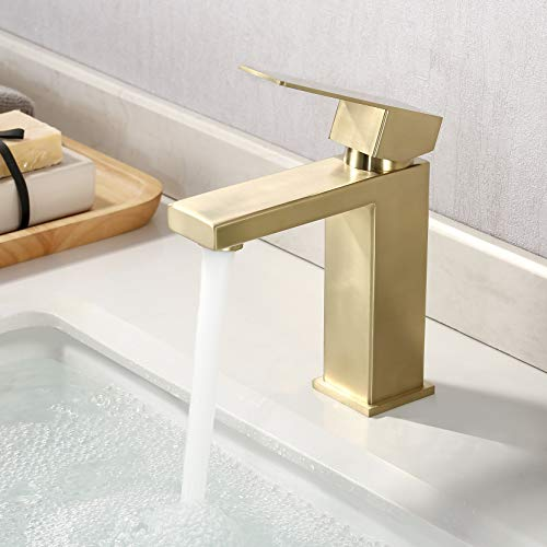 KES Brushed Gold Bathroom Faucet Single Hole Modern Vanity Faucet Single Handle Bathroom Sink Faucet Stainless Steel Brushed Brass Finish, L3156ALF-BZ