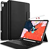 IVSO iPad Pro 12.9 Case with Keyboard 2018-3rd Gen One-Piece Wireless Keyboard Stand [Compatible Apple Pencil Charging] Auto Wake Sleep Keyboard Case for iPad Pro 12.9 2018 (Not for 2017/2015) Black
