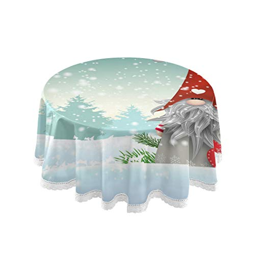 """Pfrewn Merry Christmas Snowflake Round Tablecloth Winter Snowman Xmas Tree Table Cloth Cover Mat Lace Washable Polyester 60"""" Dining Decorative for Holiday Home Party Wedding Picnic"""