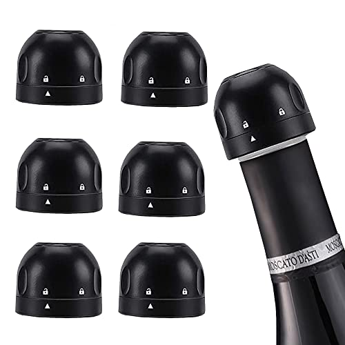 Red Wine Champagne Stopper, 6PCS Wine Stopper, Bottle Sealer for Champagne, Best Wine Champagne Accessories, Silicone Sealed Champagne Bottle Stopper, Durable Champagne Stopper Corks