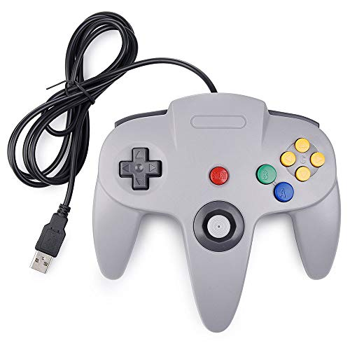 Classic N64 Controller,Retro Wired N64 Gaming Controller Remote Gamepad Joystick for N64 Console Video Game System PC Mac Raspberry Pi - Gray