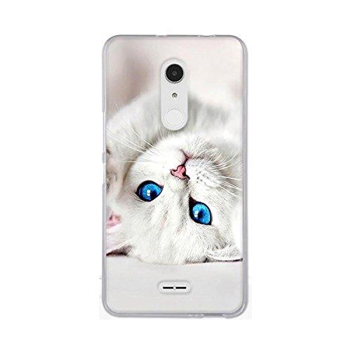 Gift_Source Alcatel A3 XL Hülle, [Weiße Katze] Ultra Dünn Schlank Silikon Bumper Soft TPU Schutzhülle Hülle Cover Weiche Stoßfest rutschfest Slim Gummi Handyhülle für Alcatel A3 XL (6.0