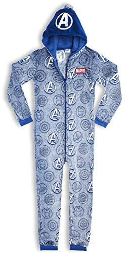 Marvel Schlafanzug Kinder, Jumpsuit Onesie Jungen, Einteiler Warmes Kuschelige Fleece Pyjama, Sherpa Hausanzug, Nachtwäsche Kostüm, Avengers Logo, Geschenke 5 Jahren (5/6 Jahre)