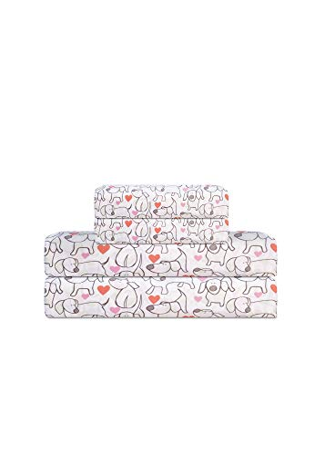 Elite Home Products Microfiber 90 GSM Whimsical Printed Deep-Pocketed Sheet Set, Hearts & Hounds, Queen