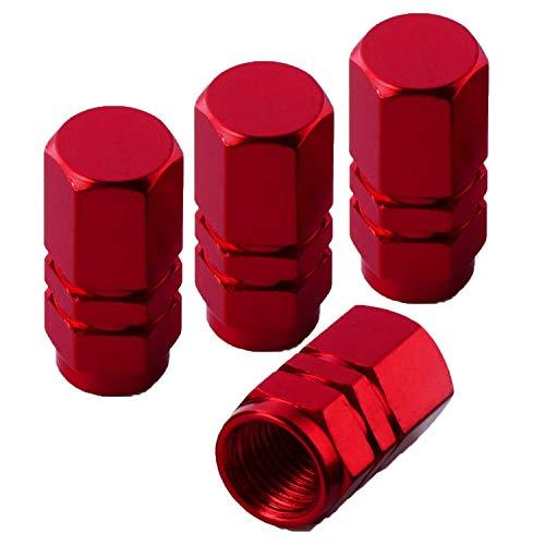 SZSHIMAO Fahrrad Ventil Adapter, Aluminium-Reifen Ventil Staubdicht Kappe, Schrader-Ventil Kappen für Auto Fahrräder 4Pcs Red