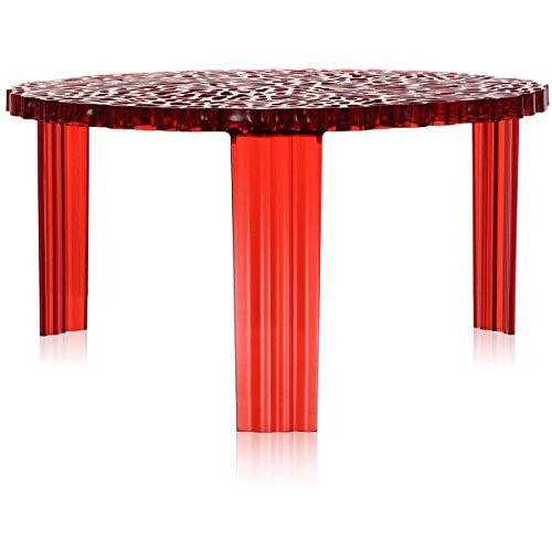 Kartell T-Table Tavolino, Rosso, 50 x 50 x 28 cm
