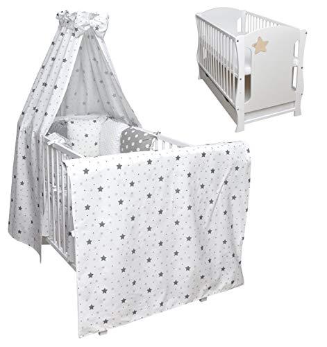 Cuna para bebé con estrellas blancas, juego completo de cama infantil Minky, colchón y cajón, dosel, 120 x 60 cm (zorro de oso de peluche)