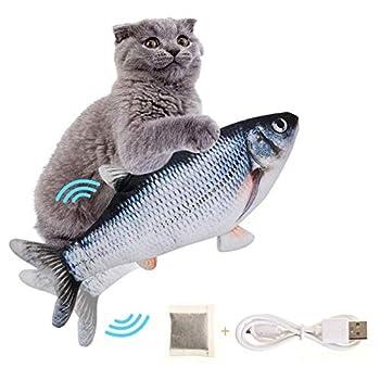 SEGMINISMART Chat Jouet Poisson, Jouet en Peluche Catnip, Jouet Poisson Electronique Simulation en Mouvement USB Rechargeable avec Cataire, Vibrant Dansant Bouge avec Catnip Jouets