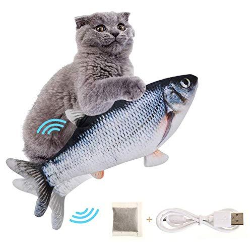 SEGMINISMART Elektrisch Spielzeug Fisch,Spielzeug mit Katzenminze,Katze Interaktive Spielzeug,Simulation Plush Fisch,Interaktive Katzenspielzeug zu Spielen,Beißen,Kauen und Treten
