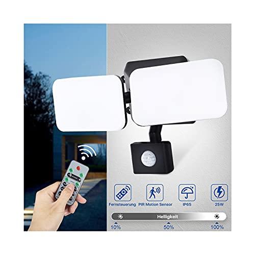 Lureshine LED Strahler mit Bewegungsmelder Außen 25W LED Flutlicht mit Fernbedienung Wasserdicht IP65 6500K Kaltweiß 2000LM Helligkeit Einstellbar
