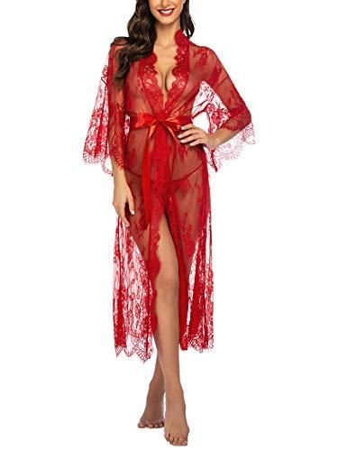 Avidlove Damen Dessous Kleid Lang Kimono Spitze Negligee Nachtwäsche Transparente Robe Set Cardigan mit Gürtel und G-String Bikini Cover up Rot M