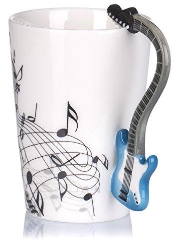 """Keramiktasse mit Motiv Henkel – Weiß Bedruckt """"E-Gitarre"""" Design ca. 0,2l – Tee & Kaffee Tasse zum Verschenken – Grinscard - 6"""