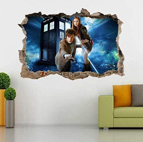 WARMBERL Wandtattoo Doctor Dr. Who Tardis 3D zertrümmert Wandaufkleber Aufkleber Home Decor Art Wandbild