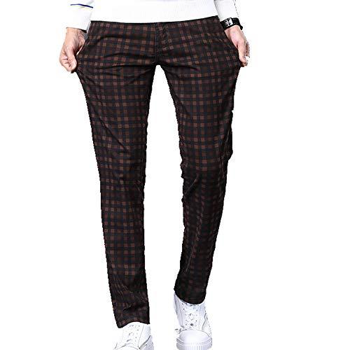 Los hombres Delgado Cuadros Casual Pantalones Otoño Ropa de Alto-Algodón Tramo Juvenil Ajuste Pantalones Grande Tamaño 28-42