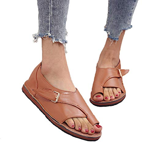 Sandalias De Mujer Casual Marrón Con Clip De Verano Sandalias De Mujer Zapatos De Playa Con Clip De Color Sólido Zapatos De Mujer Con Hebilla Sandalias Planas Zapatos De Talla Grande