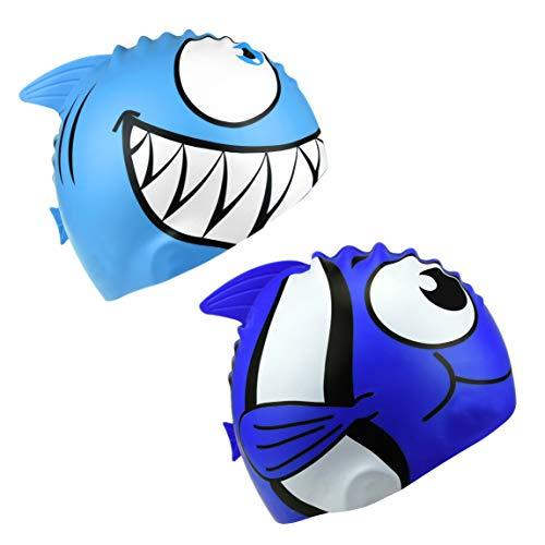HOGAR AMO 2 Pezzi di Cuffia da Nuoto per Bambino, 100% Silicone, Elastica Ragazzi Ragazze Cuffia da Nuoto Pesce Design
