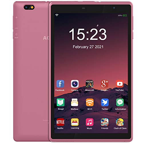 8 Inch Tablet PC Android 10 tablet,Quad-core with Dual Camera,3GB RAM+32GB Storage, 2MP+5MP Camera WIFI Bluetooth GMS Certified Metal Body(Pink)