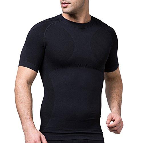 Sodacoda Herren Base-Layer T-Shirt - Gym Alltags Freizeit Hemd Kurzarm (Schwarz, L)