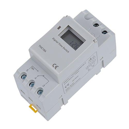 Temporizador - SODIAL(R)Interruptor de rele de tiempo de carril DIN Digital LCD Temporizador programable de potencia DC 12V 16A