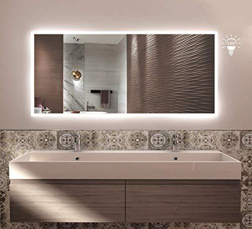 styleglass Specchio Bagno Retroilluminato, Rettangolare Luna 120x60cm, Specchio Parete Made in Italy, Telaio in PVC e Lamiera, Kit Fissaggio Murale Incluso, Grado di Protezione IP65