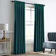 """Dreaming Casa Teal Green Velvet Curtains for Living Room Thermal Insulated Rod Pocket Back Tab Window Curtain for Bedroom 2 Panels 42"""" W x 84"""" L"""