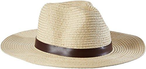 ESPRIT Damen 046EA1P002-Strohhut Fedora, Beige (Sand 285), Small