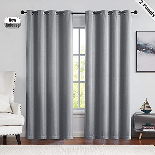 Beauoop 95% Blackout Window Curtains 84-inch Long for Bedroom/Living Room Thermal Insulated Room Darkening Soundproof Drapes Grommet Velvet Like Soft Window Treatment, 52' W, 2 Panels, Charcoal Gray