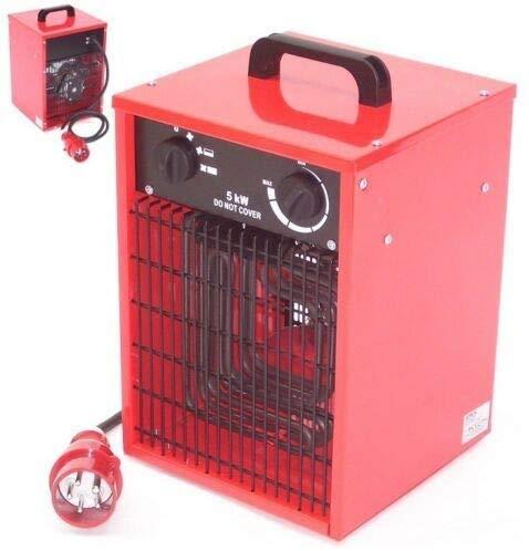 Bauheizer 5 kW Baulüfter Elektroheizer 55158 Heizgerät Heizlüfter 5000 Watt 400V CEE-16 Thermostat sowie 2 Heizstufen und Ventilatorfunktion, Ventilator AWZ