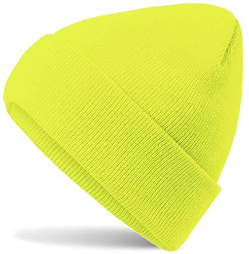 Hatsatar Unisex warme Beanie Strickmütze | Wintermütze für Damen & Herren | Feinstrick Mütze doppelt gestrickt | warm & weich (neon gelb)