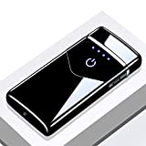 papuca 電子ライター USB 小型 電式 軽量 LED 防風 防水 メタルライター 葉巻ライター 残りのバッテリーを示 無火炎 高級感 プレゼント 贈り物 アウトドア キャンプ 登山 防災 地震対策 停電時などに適用(ブラック)