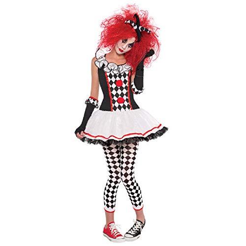 KHDFYER Bodis Lencería para Mujer S-XXL Adulto Harley Quinn Disfraz Halloween Cosplay Arlequín Payaso Circo Vestido Performance Ropa Fiesta para Mujer Cos-como Se Muestra_XXL