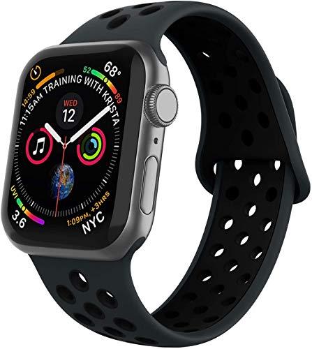 VIKATech Compatible Cinturino per Apple Watch Cinturino 44mm 42mm, Due Colori Morbido Silicone Traspirante Cinturini Sportiva di Ricambio per iWatch Series 5/4/3/2/1, Obsidian/Nero