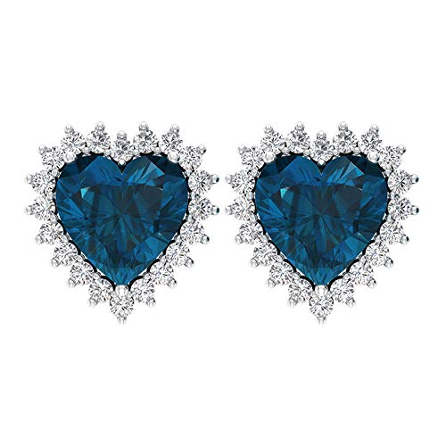 Pendientes de 3 quilates con topacio azul de Londres, con forma de corazón, con certificado SGL, para novia, boda, boda, HI-SI, diamante, dama de honor,10K Oro rosa, Par