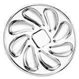 Cabilock Stainless Steel Oysters Plate Dinner Oysters Dish Plate Slots Clam Oyster Serving Grilling Pan