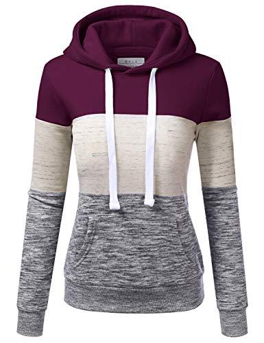 NINEXIS Basic Lightweight Pullover Hoodie Sweatshirt for Women Plum 2X