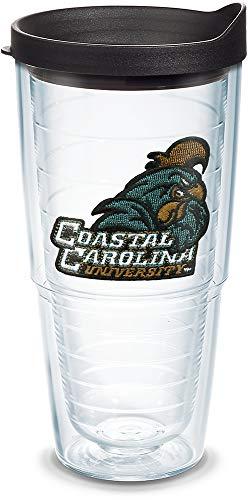 Tervis Copo com logotipo Coastal Carolina Chanticleers com emblema e tampa preta, 680 g, transparente
