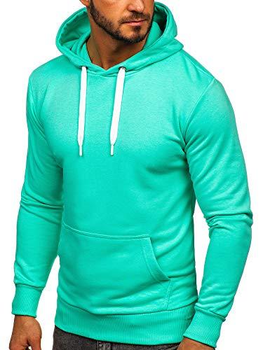 BOLF Herren Kapuzenpullover Sweatjacke Hoodie Sweatshirt mit Kapuze Reißverschluss Farbvarianten Kapuzenpulli Freizeit Training Gym Fitness Unisex 1004 Mint M [1A1]