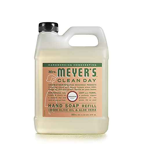 Mrs. Meyer's Clean Day Liquid Hand Soap Refill, Cruelty Free and Biodegradable Formula, Geranium Scent, 33 oz