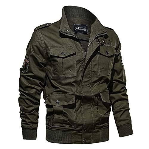 HONGMEI Chaquetas de Herramientas para Hombres Motocicleta Primavera y otoño Plus Tamaño Abrigo Multi-Bolsillo al Aire Libre Casual Suelto Army Green- XL