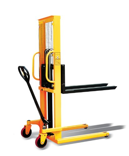 Hand Manual Stacker for Single Faced Skid Pallets, 63' Lift Height, 45.27' Length x 8.8' - 28.7' Width Fork, 2200 lbs Capacity