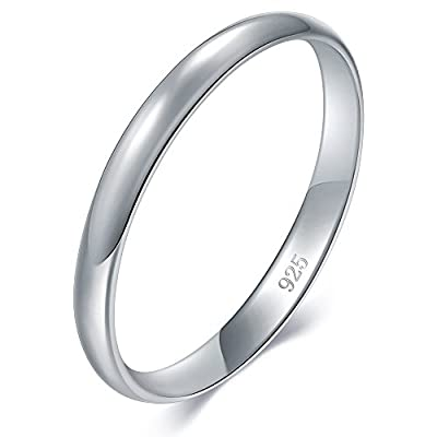 BORUO 925 Sterling Silver Ring High Polish Plain Dome Tarnish Resistant Comfort Fit Wedding Band 2mm Ring Size 10