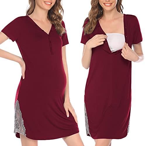 Pinspark Camisón de lactancia para mujer, de manga corta, para embarazadas, para hospital, con botones y encaje, tallas S-XXL borgoña S