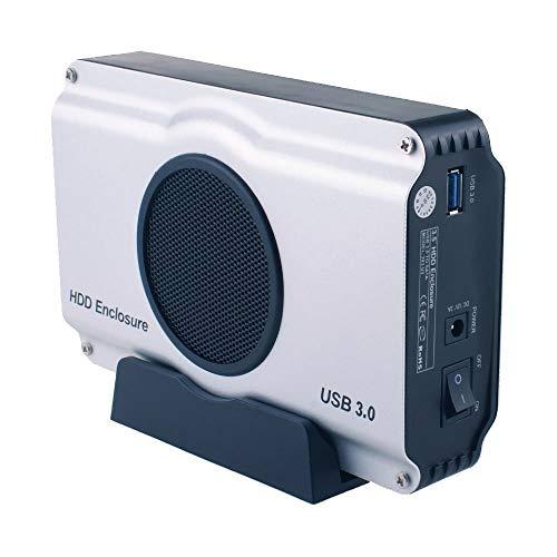 IGOSAIT Noiseless USB 3.0 a 3.5 SATA I/II/III Caja de disco duro de aluminio con ventilador de refrigeración (soporte máximo 8 TB) Enchufe británico