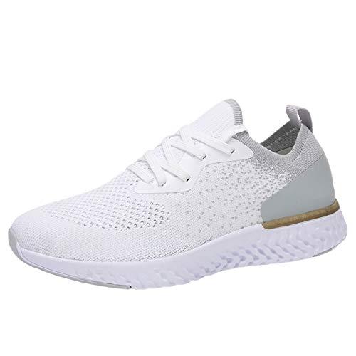 Corlidea Zapatillas deportivas unisex de punto, para el tiempo libre, para correr o para caminar, cómodas, ultraligeras, con cordones., color Blanco, talla 39 EU