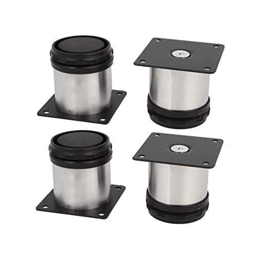 Packung mit 4 60-mm-Möbelbeinen aus rostfreiem Stahl, verstellbare Füße, Metall-Sofabeine, runde Möbelfüße
