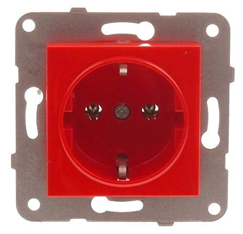 Steckdose Steckdosen Doppel Schukosteckdose Rahmen UP Kombisteckdose Wandsteckdose 1-fach in rot
