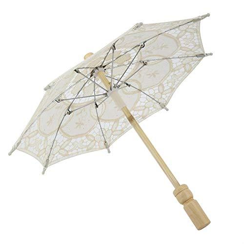Paraguas de encaje de boda blanco/beige, Paraguas de encaje + Mango de madera, Paraguas artesanal Paraguas de novia Encaje Algodón Bordado Sombrilla hecha a mano Paraguas Suministros de boda(Beige)