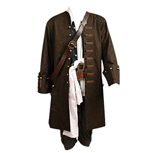 Disfraz de Jack Sparrow de Pirates Of The Caribbean, chaqueta, chaleco, cinturón, camisa, pantalones, tamaño adulto de la UE Marrón marrón M