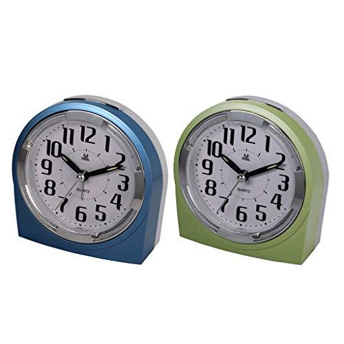 MERIGLARE Reloj Despertador de Barrido de 2 Piezas Reloj de Repetición de Cuarzo Reloj de Viaje con Luz Nocturna