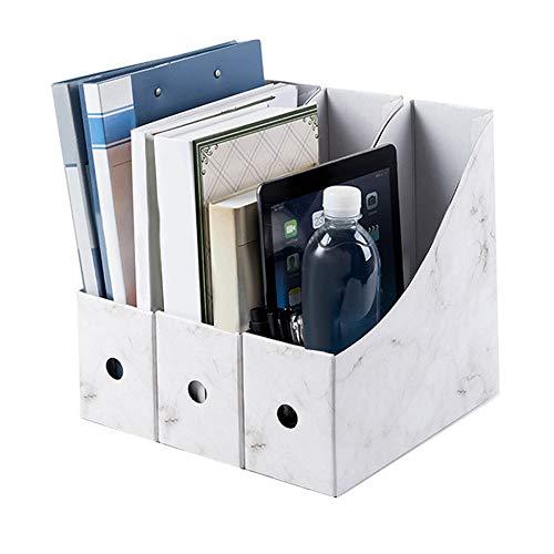 Magazine File Holder, 3 Sets, White, Sturdy Cardboard Magazine Holders, Folder Holder, Magazine Storage Box, Book Bins
